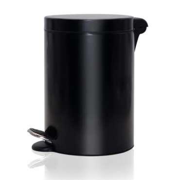 Poubelle à pédale noire ronde 5l
